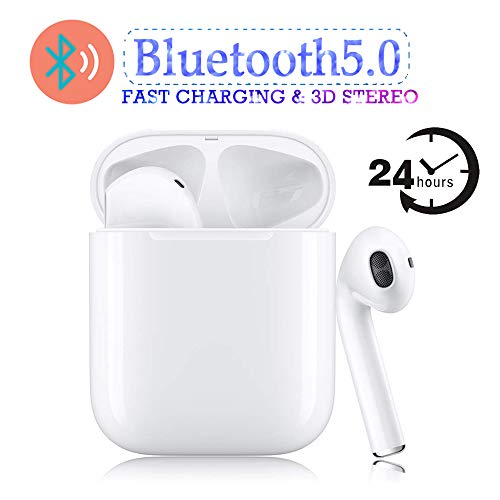 Bluetooth 5.0 Wireless Earbuds Sports Headphones with【24 Hrs Charging Case】 3D Smart Noise Reducing Earphones in-Ear Built-in HD Mic Headsets for Apple Airpods iPhone Android Bluetooth Headphones