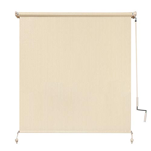 Coolaroo Exterior Roller Shade, Cordless Roller Shade with 80% UV Protection, No Valance, (4' W X 6' L), Sesame (Patio Shades Window Blinds And)