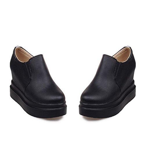 VogueZone009 Damen PU Leder Rein Ziehen auf Rund Zehe Hoher Absatz Pumps Schuhe Schwarz