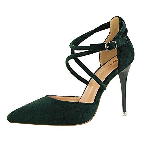 z&dw Elegante show Sexy Slim con tacones altos ante la boca poco profunda de punta hueca sandalias de banda cruzada Verde