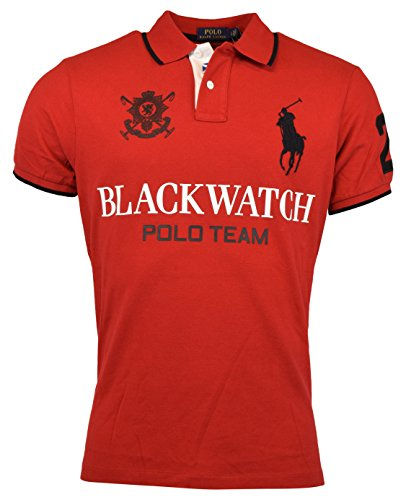 Red Big Pony - Polo Ralph Lauren Mens Custom Fit Blackwatch Polo Shirt - XXL - Red
