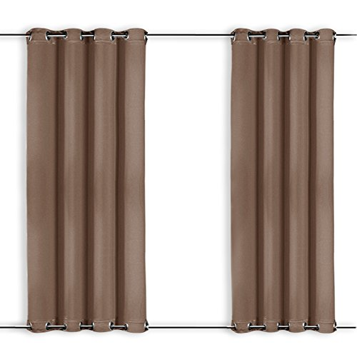 NICETOWN Outdoor Curtain for Pergola - Home Decorations Thermal Insulated Top and Bottom Grommets Blackout Indoor Outdoor Curtain/Drape, Windproof (Single Panel,52 x 95 inches, Tan-Khaki)