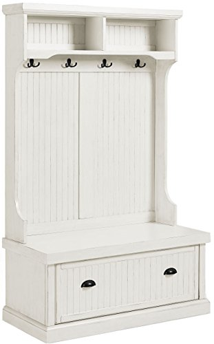 - Crosley Furniture Seaside Hall Tree - Distressed White