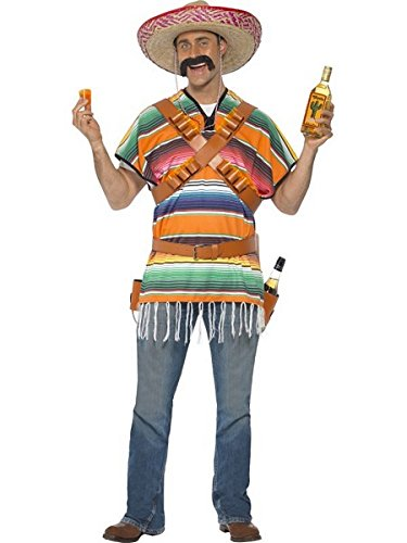 Smiffy's Men's Tequila Shooter Guy Costume with Poncho Bandoliers Belt and Bottle Holsters, Orange & Green One Size]()