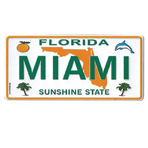 MAGNET - MIAMI FLORIDA License Plate Metal Small Fridge CAR REPLICA Collector's Souvenir Magnet 2