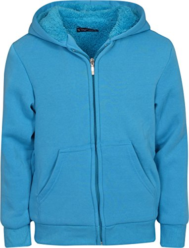 Fleece Lined Hoody - Real Love Girl\\\\\\\'s Fleece Sherpa Lined Hooded Sweatshirt, Turquoise, Size 10/12\\\'\''