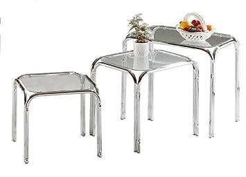 3 Tlg Set Beistelltisch Beistelltische Tische Satz Tisch Chrom Mit