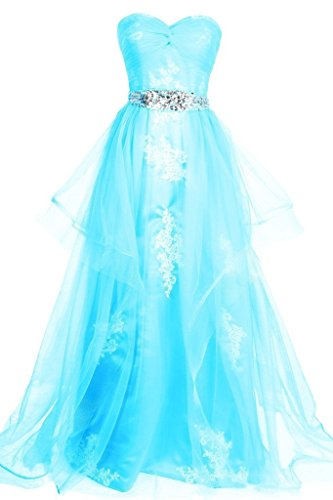 Dresstore Sweetheart Tulle Long Prom Evening Dress with Applique Beaded Waist Blue US 12