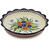 Polish Pottery Fluted Pie Dish 11-inch Spring Splendor UNIKAT