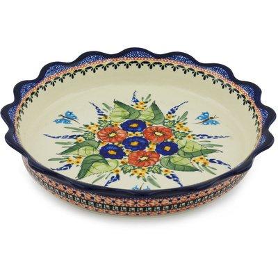 Polish Pottery Fluted Pie Dish 11-inch Spring Splendor UNIKAT
