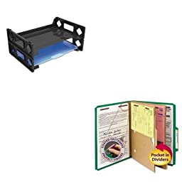 KITSMD14083UNV08100 - Value Kit - Smead Pressboard Folders with Two Pocket Dividers (SMD14083) and Universal Side Load Letter Desk Tray (UNV08100)