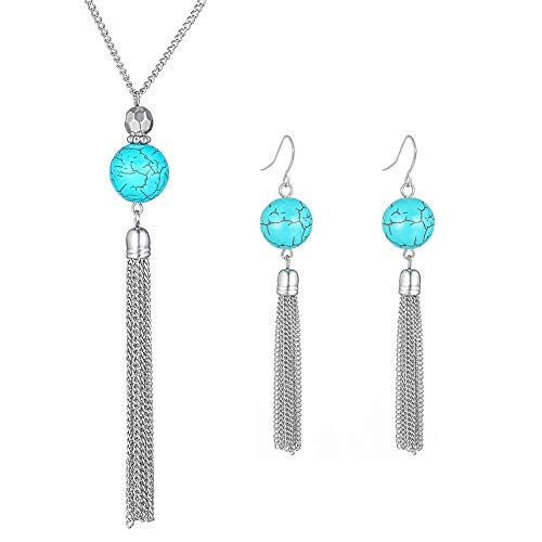 Of Turquoise Pearl Mother Earrings (Long Tassel Pendant Necklaces for Women - Faux Pearl Necklace with Silver Chain, Fashion Jewelry for Lady (Turquoise Necklace+Earrings))