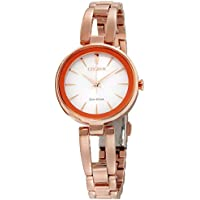 Citizen Eco-Drive Womens White Dial Stainless Steel Bracelet Watch (Rose Gold)