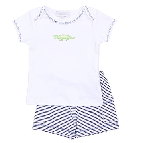 Magnolia Baby Baby Boy Later Gator Embroidered Short Set Blue