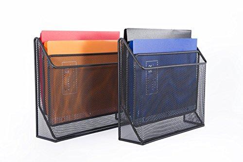 DESIGNA 3 Tiers File Folder Organizer,Mesh Standing File Organizer Black (2 Pack) 3 Tier File