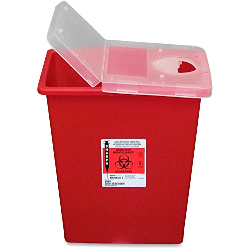 Unimed-Midwest SSHL100980 Red Biohazard Sharps Container with Clear Hinged Lid, 8 gallon (UMISSHL100980