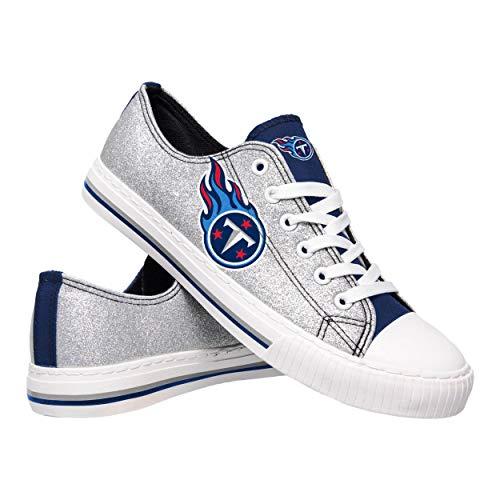 (FOCO NFL Tennessee Titans Womens Glitter Low Top Canvas ShoesGlitter Low Top Canvas Shoes, Team Color, 8/L)