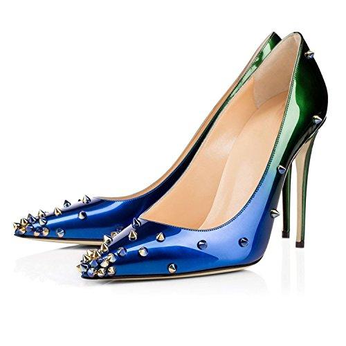 Arc-en-ciel zapatos de las mujeres del tacón alto señalaron las bombas del dedo del pie tachonado Azul Verde