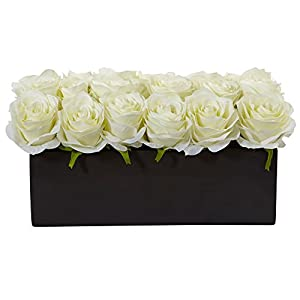 Nearly Natural Dozen Silk Roses in Rectangular Planter White 57
