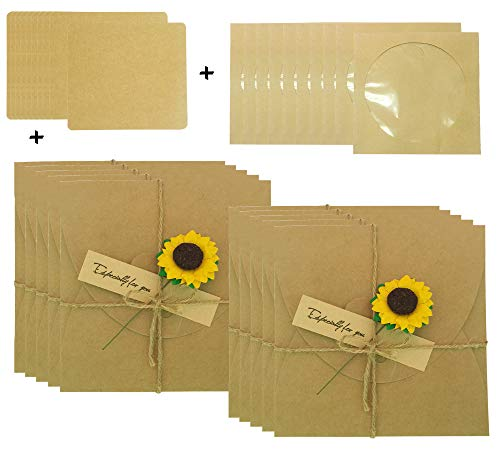 (Kraft CD Sleeves Handmade Sunflower Gift Wrap DVD Envelopes with Blank Card DIY Sets for Wedding/Show/Party/Video Invitation)