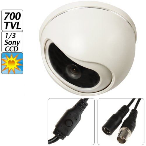 """ePathChina® 700TVL 1/3"""" Sony Effio-E Color CCD Plastic 2.5 inch Dome High Resolution & High Definition and Stability Color CCTV Camera With 12V Input,3.6mm Fixed Lens,2:1 Interlace Internal Synchronization System,PAL /Clock Frequency(MHZ),Built-in Auto Electronic Shutter Function,Support OSD Menu CCTV System Security Camera For Indoor / Home / Business Security Video Surveillance"""