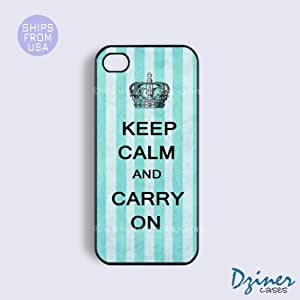 iPhone 5 5s Case - Keep Calm Carry On Blue Stripes iPhone Cover