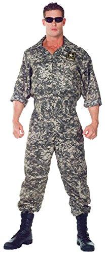 Army Mascot Costume (UHC Men's US Army Soldier Camo Jumpsuit Adult Uniform Halloween Fancy Costume, Plus)