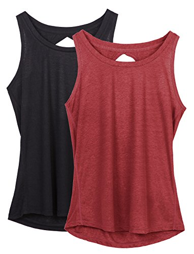 icyzone Yoga Tops Activewear Workout Clothes Open Back Fitness Racerback Tank Tops for Women(S,Black/Wine)