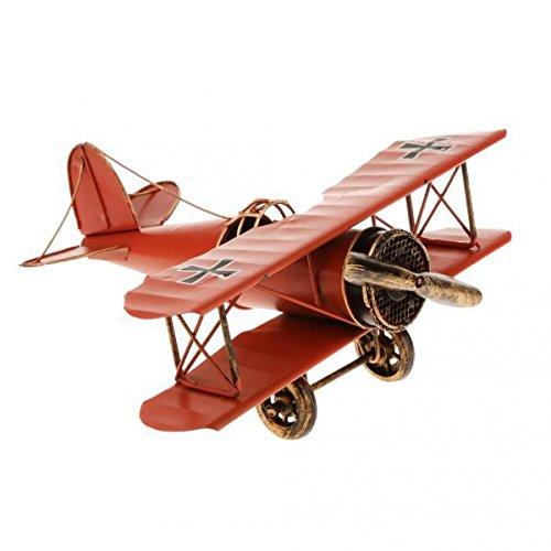 ノーブランド品 2個 ヴィンテージ 飛行機モデル 複葉機軍用機 家の装飾 おもちゃ プレゼント 2色選ぶ - 赤