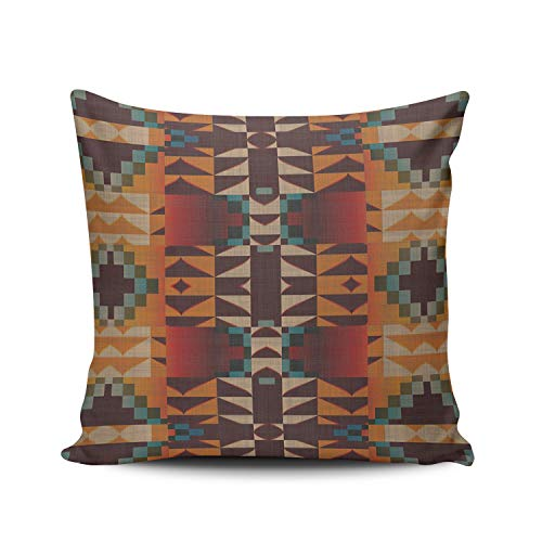 Quality Show Silver Mosaic (XIUBA Throw Pillow Covers Case Colorful Orange Brown Red Teal Blue Tribal Mosaic Art Decorative Pillowcase Cushion Cover 18 x 18 Inch Square Size Double-Sided Design Printed)