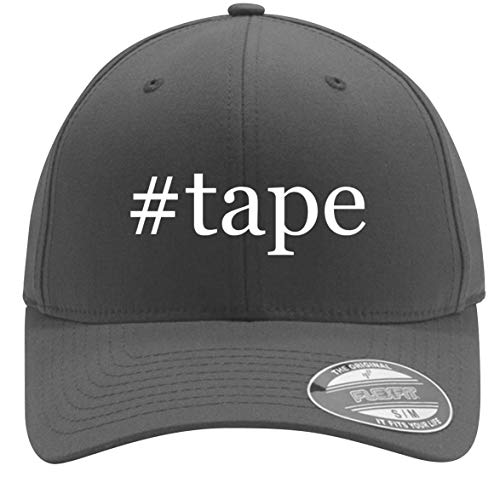 #Tape - Adult Men's Hashtag Flexfit Baseball Hat Cap, Silver, Small/Medium