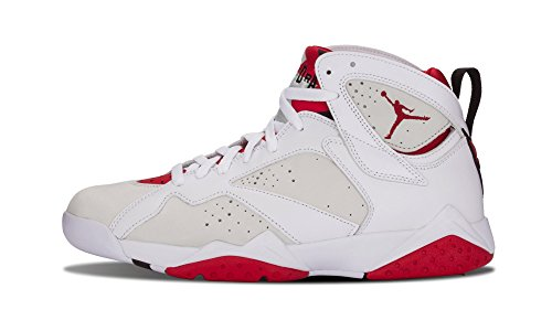 Jordan Nike Mens Air 7 Retro Hare White/True Red-Light Silver Leather Size 13 by Jordan