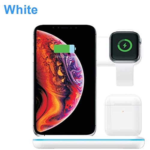 elegantstunning 3 in 1 Universal 15W Qi Wireless Charger for I-p-h-o-n-e X 8 Quick Charge 3.0 Fast Charger Dock Stand for A-i-r-p-o-d-s Watch 4 3 2 1 White