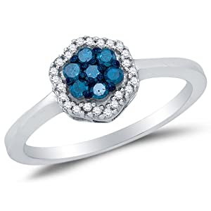 Size 7 - 925 Sterling Silver Blue & White Round Diamond Halo Circle Engagement Ring - Channel Set Flower Center Setting Shape (1/4 cttw.)