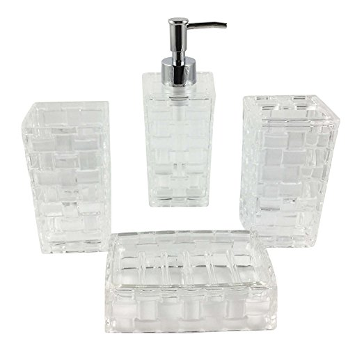 Hampton Bathroom Accessories Set, 4 Piece Bath Ensemble Set Collection Features Soap Dispenser, Toothbrush Holder, Tumbler, Soap Dish Basket Weave (Clear)