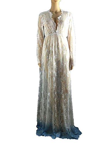 Meet the beauty Long Section Deep V Women Nightgown Lace Hollow Long Sleeve Nightdress,Blue2,XL -