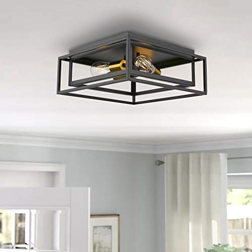 Jazava Flush Mount Ceiling Light Fixture, 3-Light Farmhouse Ceiling Light, 15.3 inches Square Close to Ceiling Lights for Bedroom/Kitchen/Dining Room Lighting, Double Frame Cages, Black