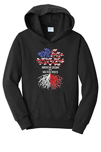 th American Born with Maltese Roots Hooded Sweatshirt, Large, Black (Maltese Youth Sweatshirt)