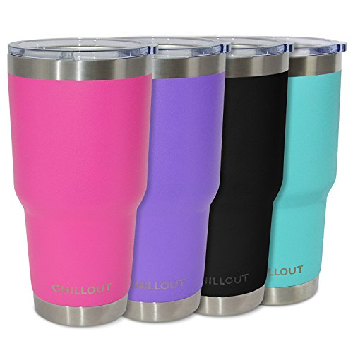 Stainless Steel Tumbler 30 oz with Splash Proof Lid & Gift Box - Premium Quality Double Wall Vacuum Insulated Large Travel Coffee Mug for Hot & Cold Drinks - Powder Coated Tumbler, Hot Pink Tumbler
