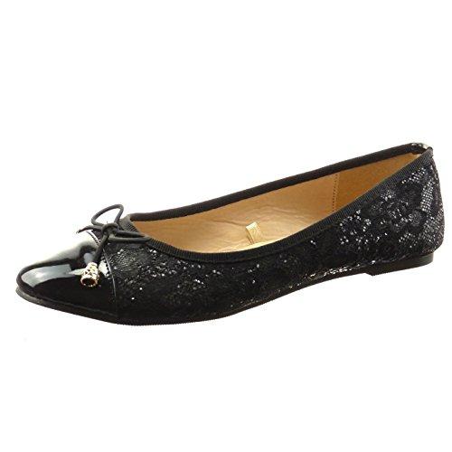 Sopily - damen Mode Schuhe Ballerina Patent - Schwarz