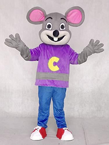 rushopn Purple Shirt Chuck E. Cheese Fast Food Mascot Costumes Cheerleaders -