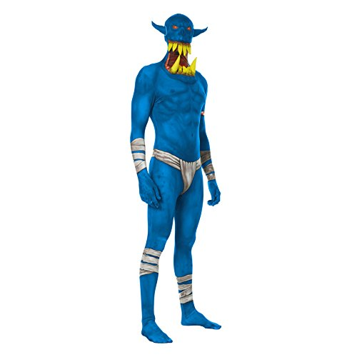 """Blue Morphsuit (Blue Orc Jaw Dropper Morphsuit Monster Fancy Dress Costume - size Xlarge - 5""""10-6""""1 (176cm-185cm))"""