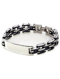 Stainless Steel Men's Chain Link ID Bracelet Custom Engraving Customized Name ID