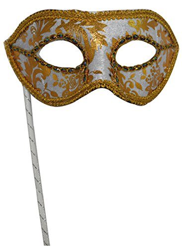 Men's Masquerade Christmas Halloween Ball Party Half Face Masks on Stick (White) for $<!--$7.99-->