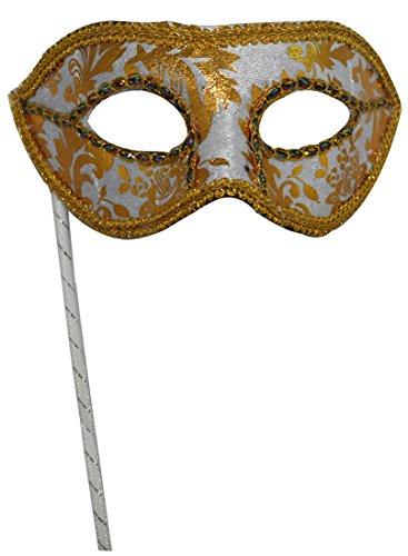 Men's Masquerade Christmas Halloween Ball Party Half Face Masks on Stick (White) (Masks On A Masquerade Stick White)