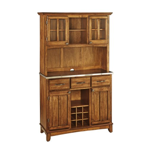 Buffet of Buffets Cottage Oak with Stainless Steel Top and Hutch by Home Styles