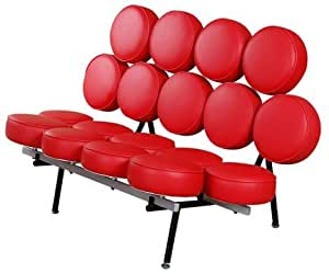 MLF Nelson Marshmallow Sofa (7 Colors). Imported Red Italian Leather, Comfortable, Solid, Durable, Artistic, Easy Cleaning & Interchanged, Floor Protector Pads Adjustable.