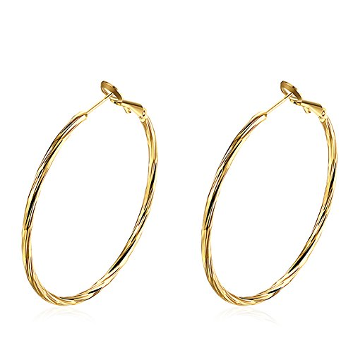 (48mm Gold Plated Twisted Hoop Earrings (Gold Plated))
