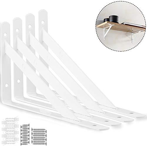 STARVAST 4 Pack Heavy Duty Shelf Brackets 7.8 x 4.7 inch, Floating Shelves White Triangle Shelf Brackets, 90 Degree Angle Wall Mounted Shelf Supporter Corner Bracket (200x120mm) ()