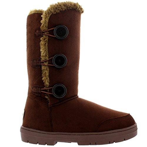 De Invierno Mujer Forrada Lluvia Marrón Zapato Botón 3 Nieve Piel Clásico Bota zqS64Yz